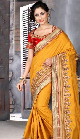 Light Orange & Red Bhagalpuri Silk Heavy Resam Saree