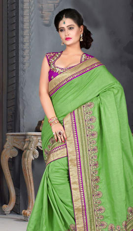Light Green Bhagalpuri Silk Heavy Resam Saree
