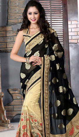 Black & Cream Bhagalpuri Silk Heavy Resam Saree