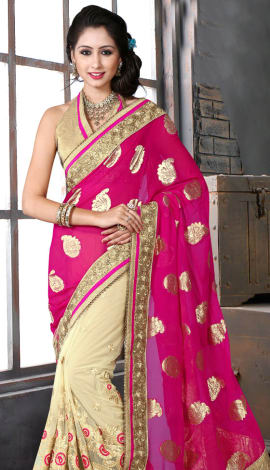 Pink & Cream Bhagalpuri Silk Heavy Resam Saree