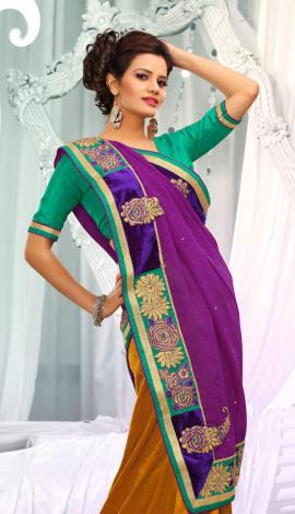 Bagni & Golden Jq  Pallu Cotton Resam  & Badla, Saree