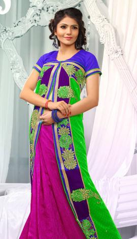 Green & Pink Jq  Pallu Cotton Resam  & Badla, Saree