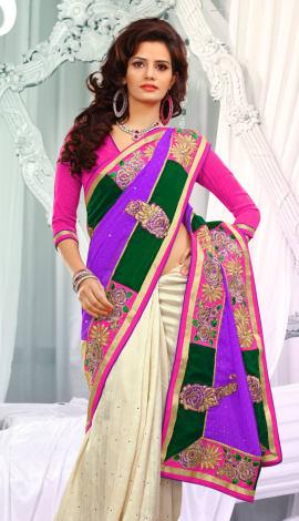Multi Jq  Pallu Cotton Resam  & Badla, Saree