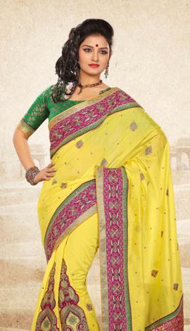 Light Yellow Bhagalpuri Jq+Jute Silk Pallu Multy Saree