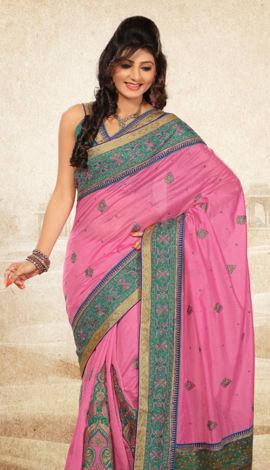Pink Bhagalpuri Jq+Jute Silk Pallu Multy Saree