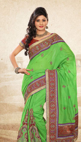 Green Bhagalpuri Jq+Jute Silk Pallu Multy Saree