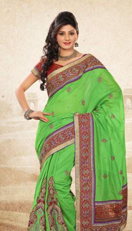 Green Bhagalpuri Jq+Jute Silk Pallu Multy Saree