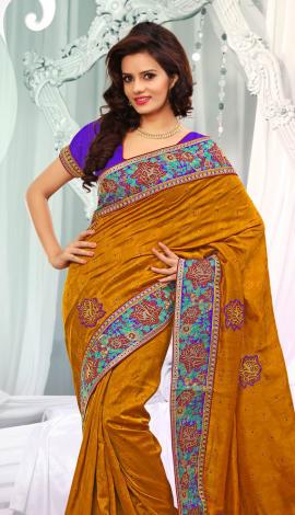 Light Brown Jq  Pallu Cotton Resam  & Badla, Saree