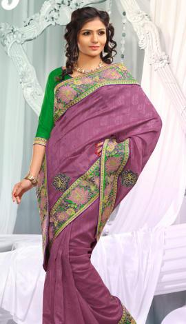 Perple Jq  Pallu Cotton Resam  & Badla, Saree