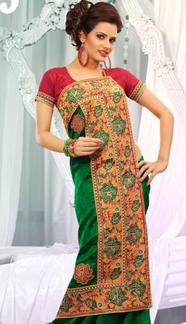 Orange & Green Jq  Pallu Cotton Resam  & Badla, Saree