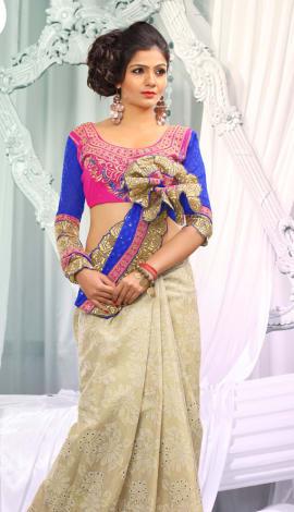 Cream & Blue Jq  Pallu Cotton Resam  & Badla, Saree