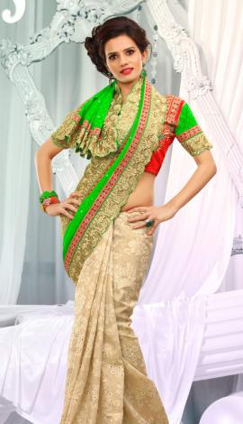 Golden & Green Jq  Pallu Cotton Resam  & Badla, Saree