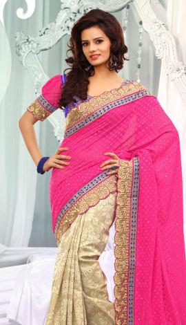 Pink & Cream Jq  Pallu Cotton Resam  & Badla, Saree