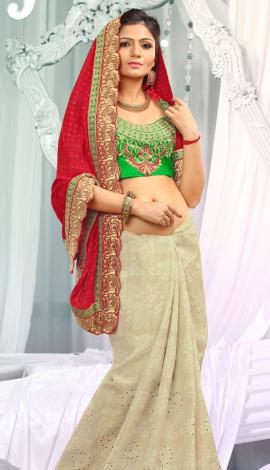 Cream & Red Jq  Pallu Cotton Resam  & Badla, Saree