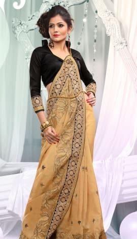 Golden Jq  Pallu Cotton Resam  & Badla, Saree
