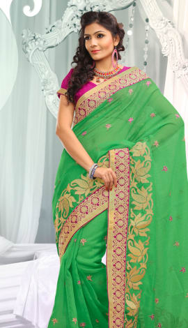 Green Jq  Pallu Cotton Resam  & Badla, Saree
