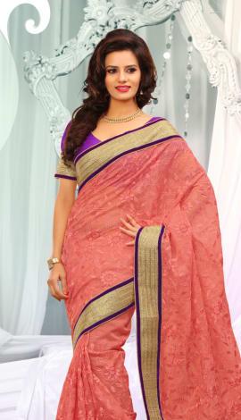 Light Orange Jq  Pallu Cotton Resam  & Badla, Saree