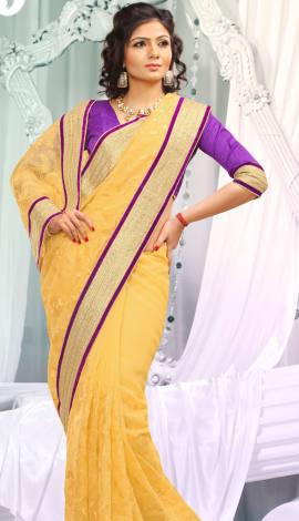 Orange Jq  Pallu Cotton Resam  & Badla, Saree
