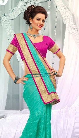 Light Blue Jq  Pallu Cotton Resam  & Badla, Saree