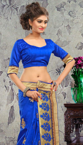 Blue Bhagalpuri Silk & Heavy Jari Saree