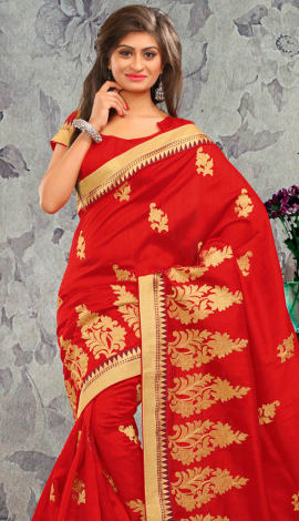 Red Bhagalpuri Silk & Heavy Jari Saree
