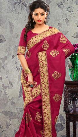 Maroon Bhagalpuri Silk & Heavy Jari Saree