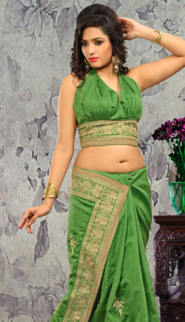 Light Green Bhagalpuri Silk & Heavy Jari Saree