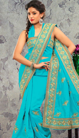 Light Blue Bhagalpuri Silk & Heavy Jari Saree