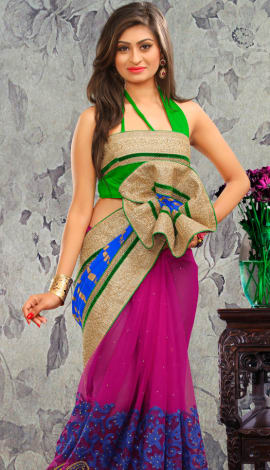 Pink & Green Bhagalpuri Silk & Heavy Jari Saree