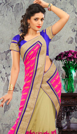 Cream & Pink Bhagalpuri Silk & Heavy Jari Saree