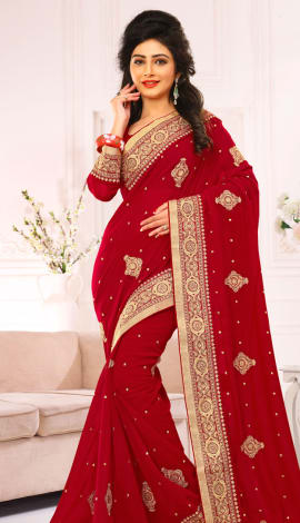 Red Pure Viscos Jorget Saree