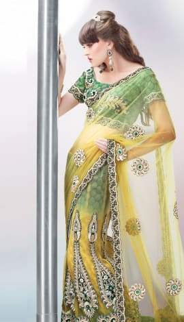 Light Yello& Green Art Silk Lehenga