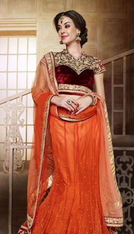 Orange &Maroon Net Lehenga