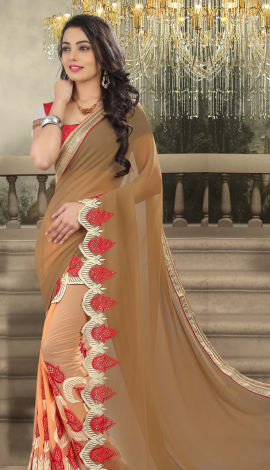 Rust And Light Orange Net And Faux Georgette Saree