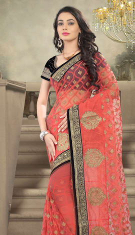 Pink Net And Faux Georgette Saree