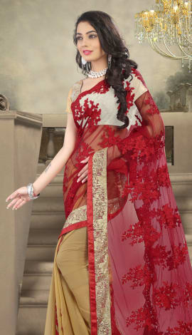 Red & Cream Net And Faux Georgette Saree