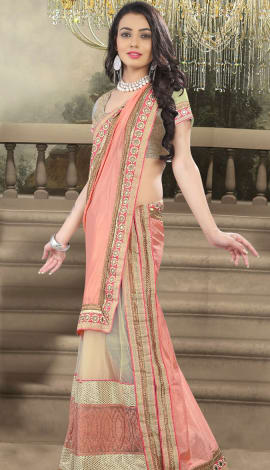 Light Pink Net And Faux Georgette Saree