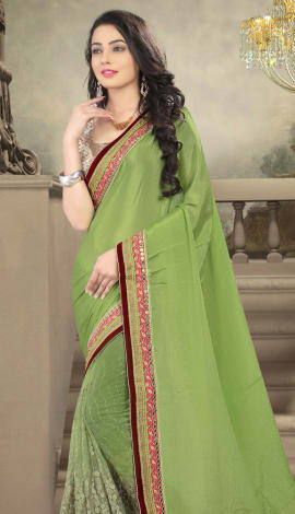 Green Net And Faux Georgette Saree