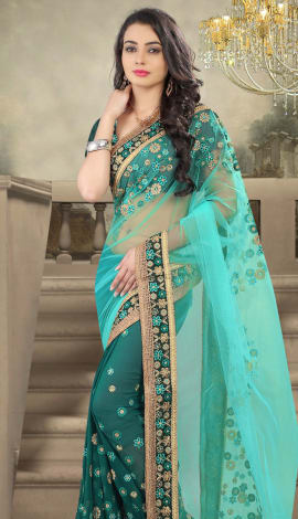 Bule & Green Net And Faux Georgette Saree