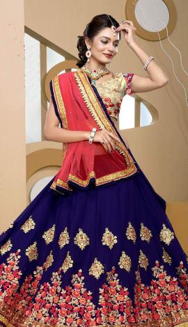Navy Blue & Golden Art Silk Lehenga