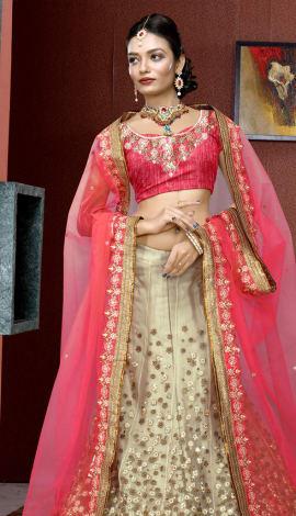 Pink & Cream Art Silk Lehenga