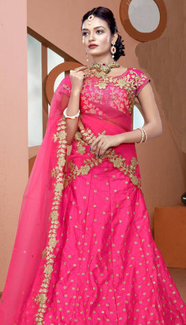 Fully Pink Art Silk Lehenga
