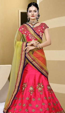 Pink & Light Yellow Art Silk Lehenga