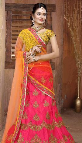 Pink & Yellow & Orange Art Silk Lehenga