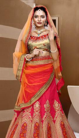 Orange & Pink Art Silk Lehenga