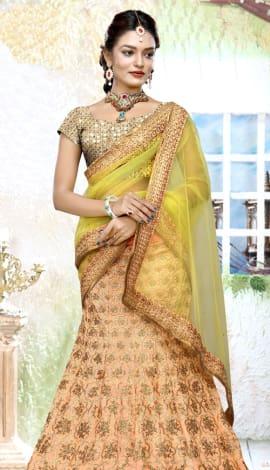 Light Golden Art Silk Lehenga