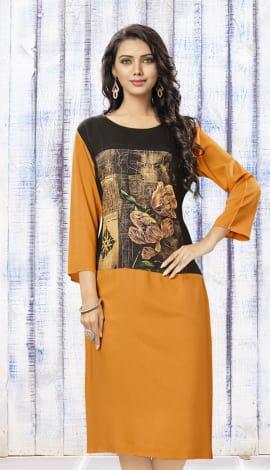 Black & Orange Rayon Kurti