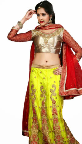 Red Yellow Net Lehenga