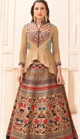 Multi Pure Cotton Satin Salwar Kameez