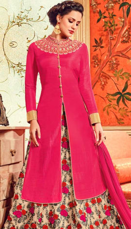 Pink Pure Cotton Satin Salwar Kameez